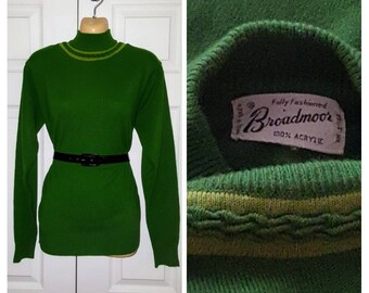 Dinah ... Vintage 60s sweater / ringer green chartreuse braided / 1960s tight secretary bombshell mad men mid century ...  M L