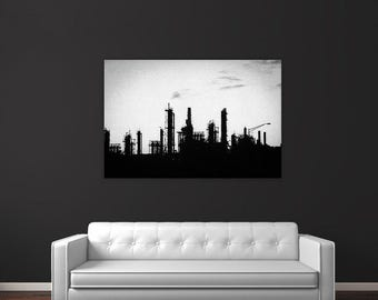 Black White Industrial Factory Photography Print