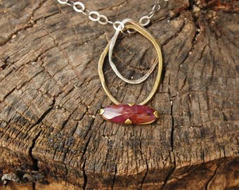 Red Sapphire Necklace, Long Silver Links Necklace, GemStone Necklace, Two Tone Large Pendant Necklace, Boho necklace, Sapphire Stone Pendant