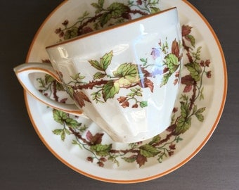 Crown Ducal 3566 Demitasse Cup & Saucer Set Early English Thorny Vine Vintage Demi - #A2556