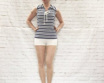 Vintage 60s Mod Nautical Lace-Up Striped Shorts Romper Blue Seersucker Playsuit XS S