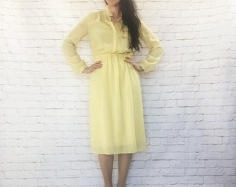 Vintage 80s Lemon Chiffon Sheer Yellow Secretary Midi Shirtwaist Dress Long Sleeve M L
