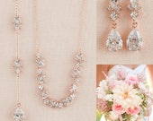 Rose Gold Back Drop Bridal Necklace Backdrop Necklace, Crystal Leaf Necklace, Bridal Jewelry SET, Simple Kendall Jewelry