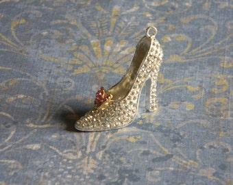 Glass Slipper Rhinestone Pendant Cinderella Bubble Necklaces Key Chain Zipper Pull Bubblegum Jewelry Ornament Disney Princess Shoe Butterfly