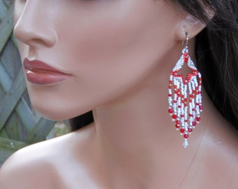 Red White & Silver Beaded Earrings - Seed Bead Earrings - 3.25 Inch Long Earrings - Bright 3D - Beaded Fringe Earring - Chandelier