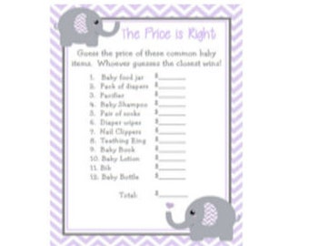 Baby Shower Game Purple Lavender & Grey (Gray) Chevron Elephant The Price is Right Game Instant Download