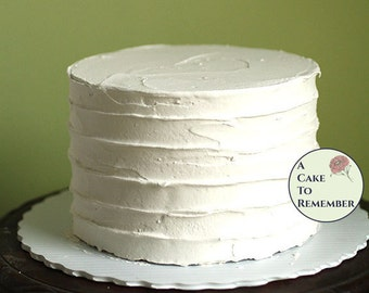 """6"""" round fake cake with ridged icing for photo shoots and home staging. Faux wedding cake dummy tier, food photo prop. Display desserts"""
