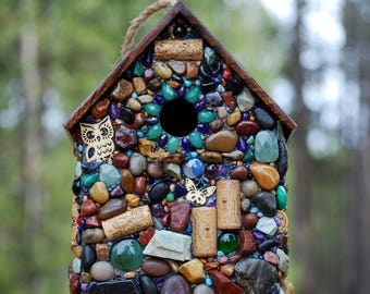 Large Outdoor Birdhouse, green mosaic, and colorful Stones for Wine Lovers, wine corks, Rustic birdhouse, Made in Oregon, birdhouse, garden
