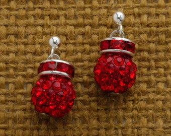 Red Rhinestone Earring Silver Post Handcrafted 6H