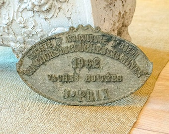 Vintage FRENCH Agriculture Trophy, Plaque, Bulls, 3rd Prize, 1962, From France