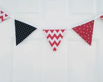 Patriotic Red White and Blue Fabric Bunting Banner, 4th of July Banner, Patriotic Bunting, Independence Day Decor, Fabric Bunting Banner