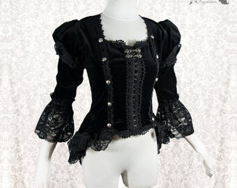 Blouse black, Victorian, Steampunk, cotton velour, goth, Devota, Somnia Romantica, size extra small see item details for measurements