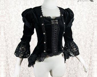 Blouse black, Victorian, Steampunk, cotton velour, goth, Devota, Somnia Romantica, size extra small see item details for measurements