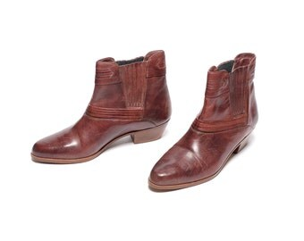 mens vintage boots ox blood chelsea boots western Beatle boots point toe cordovan leather mens 10 10D stacked Cuban heel Circle S