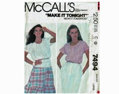 1980s Pullover peasant blouse Make it Tonight Size Medium 14-16 Bust 36-38 or Large 18-20 Bust 40-42 McCalls 7494 Uncut Sewing Pattern