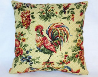 "Waverly Cream Rooster Pillow In Saison de Printemps Chicken Toile, Reversible Gingham Check, 17"" Square, Cover Only or Insert  Included"