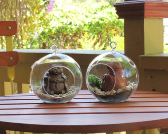 NEW! SERENITY TERRARIUM. Choose your Sculpture. Choose your Color. Glass Globe Hangs or Sits. Indoor or Outdoor Succulent Fairy Garden.