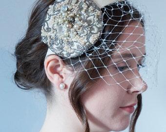 Eden Bridal Hair Band / Vintage Inspired / Bride Fascinator / Bird Cage Veil