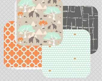 Elephant Nursery Bedding Sets - Teal and Orange - Nursery Bedding - Custom Nursery Bedding