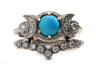 Turquoise and Diamond Triple Moon Goddess Engagement Ring Set - Bohemian Gold Wedding Rings