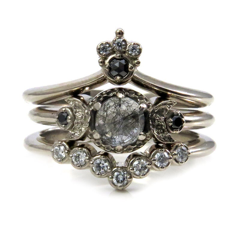 Celestial Bands: Celestial Goth Engagement Ring Set Black Rutile Quartz Moon