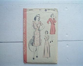 Vintage 1940s Dress Pattern Hollywood 906 Coat-Dress or Housecoat 1930s Style Sewing Pattern