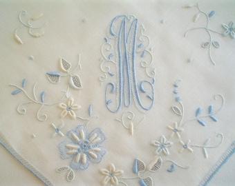 Unused Hankie Monogram M Superb Madeira Hand Embroidered New Old Stock Vintage Handkerchief