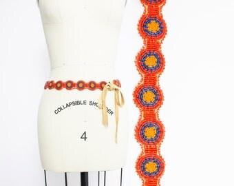 Vintage 1970s Belt - BEADED Native American Deer Hide Suede Leather Boho Waist Belt 60s - Small / Medium