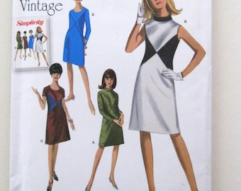 1960s Plus Size Dress Pattern, Simplicity 1012, Womens Color Block Shift Dress Sewing Pattern, Sleeve  & Neck Variations, Size 20W-28W UNCUT