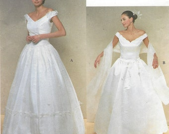 90s Womens Wedding Dress Off the Shoulder Scalloped Neckline Simplicity Sewing Pattern 8834 Size 12 14 16 18 Bust 34 36 38 40 UnCut