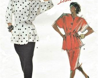 1980s Tamotsu Womens Dolman Sleeve Peplum Top and Straight Skirt Vogue Sewing Pattern 1710 Size 14 Bust 36 UnCut Vogue American Designer