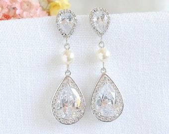 Pearl Bridal Earrings, Crystal Wedding Earrings, Swarovski Pearl Earrings, Teardrop Dangle Earrings, Old Hollywood Bridal Jewelry, FAYE