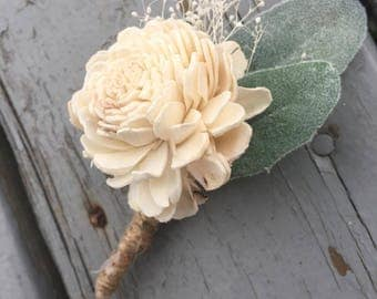 Wooden Boutonniere, Sola Wood Boutonniere, sola flower boutonniere