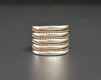 """Sterling & 10K Rope Ring Size 5 9/16"""" Wide Cigar Band"""