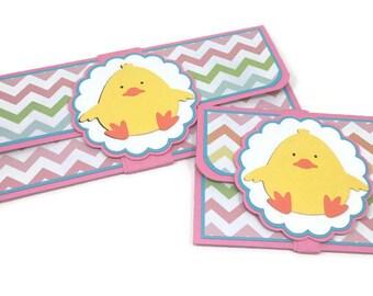 Easter card, Easter money holder, gift card holder, baby chick card, birthday money card, baby shower card, cash envelope, money holder