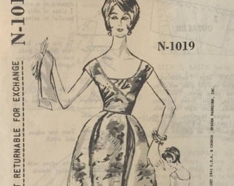 Vintage Spadea Pattern N-1019, Ceil Chapman Party Dress with Draped Bodice and Belled Skirt, Unused, Bust 34, 1960's Dress Sewing Pattern