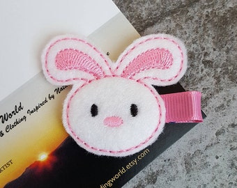 Bunny - Embroidered Felt Clippies - Felt Hair Clips - White, Pink