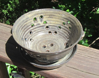 Ceramic Berry Bowl with Plate, Dish, Fruit Bowl, Colander, Strainer, Hand Thrown Pottery, Midnight Blue & Iron Lustre Glaze