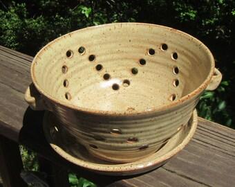 Ceramic Berry Bowl with Plate, Dish, Fruit Bowl, Colander, Strainer, Hand Thrown Pottery, Orange Brown Glaze