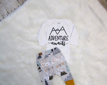Adventure Awaits Baby Boy Set | Coming Home Set | Baby Boy Coming Home | Baby Shower Gift | Preemie - 12/18m | Adventure Awaits