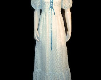 1970s Maxi Dress Long Lace Dress Blue White Dress Blue White Lace Dress Long 1970s Peasant Dress Ruffled Dress Puff Sleeves Empire Waist