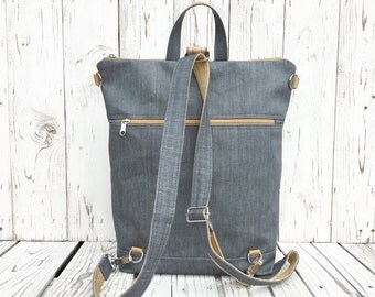 Solid Vegan City backpack, Minimalist Gray Rucksack, Functional Laptop carrier, unique gift for women, birthday present