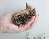 Baby Hedgehog with Caterpillar - 8cm