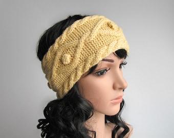Aran Knit Headband, Hand Knitted Head Wrap, Boho Knit Hairband, Winter Ear Cover, Earwarmer - 100% Natural Wool