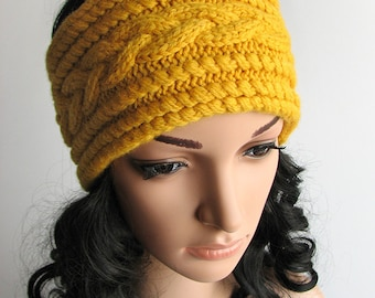 Cable Braided Headband, Hand Knitted Head Wrap, Wide Knit Hairband, Winter Ear Cover, Earwarmer - 100% Natural Wool