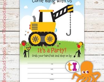 Crane, Construction, Truck, Birthday, Party, Invitations, Boys, Kids