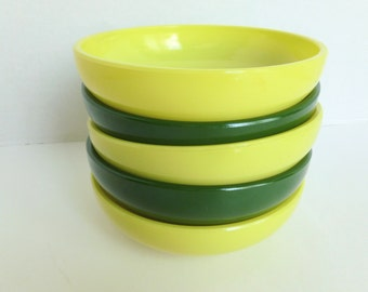 Hazel Atlas Platonite Milk Glass Salad Bowls Lot in Chartreuse and Green