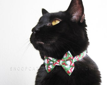 Cat Bow Tie - Frosty Snowmen - Choose Red, Green or Blue