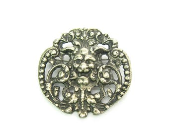 Gothic Green Man Brooch. Ornate Baroque Silver Horned Devil w/ Leaves. God of the Woods, Faunus, Pan. Vintage Roman Satyr Statement Jewelry