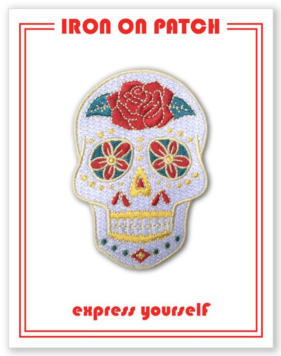 Sugar Skull Patch Iron On Patch Gift Accessory Art PAT10